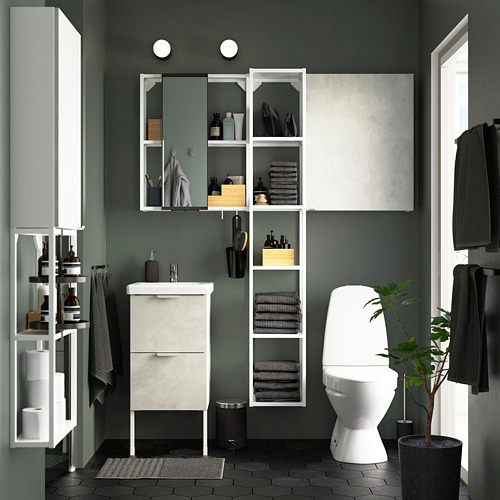 TVÄLLEN/ENHET - 浴室貯物組合 16件裝, 仿混凝土/白色 PILKÅN水龍頭   IKEA 香港及澳門 - PE788052_S4