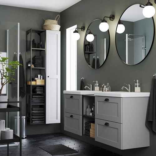 TVÄLLEN/ENHET - 浴室貯物組合 15件裝, 灰色 框架/炭黑色 PILKÅN水龍頭 | IKEA 香港及澳門 - PE788057_S4
