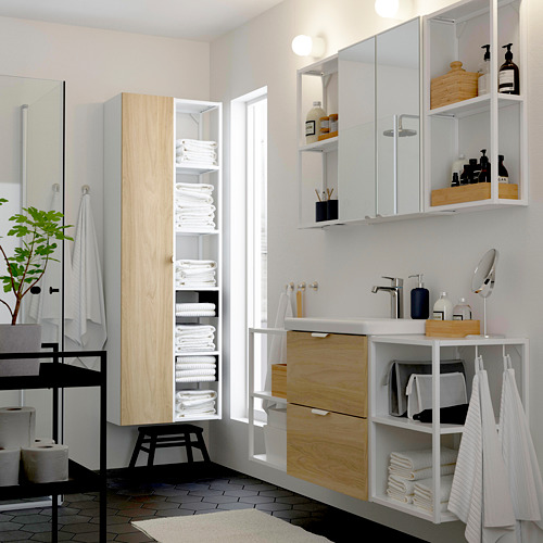 TVÄLLEN/ENHET - 浴室貯物組合 18件裝, oak effect/white Brogrund tap | IKEA 香港及澳門 - PE788058_S4
