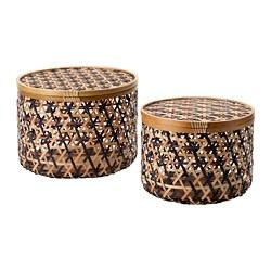 ANILINARE - 連蓋貯物盒 2件套裝, 竹 黑色/褐色   IKEA 香港及澳門 - PE788085_S3