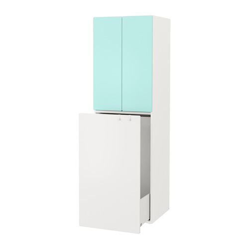 SMÅSTAD - wardrobe with pull-out unit, white pale turquoise/with clothing rod | IKEA Hong Kong and Macau - PE788060_S4
