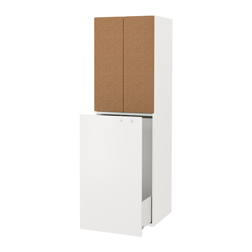 SMÅSTAD wardrobe with pull-out unit, white/cork with clothing rod