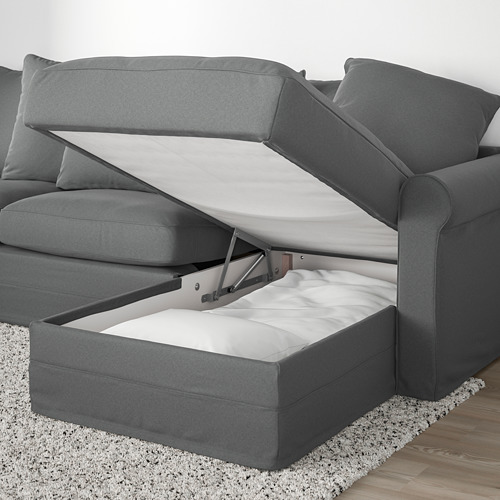 GRÖNLID - corner sofa-bed, 5-seat, with chaise longue/Ljungen medium grey | IKEA Hong Kong and Macau - PE690387_S4