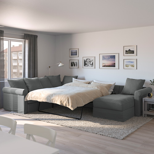 GRÖNLID - corner sofa-bed, 5-seat, with chaise longue/Ljungen medium grey | IKEA Hong Kong and Macau - PE690411_S4