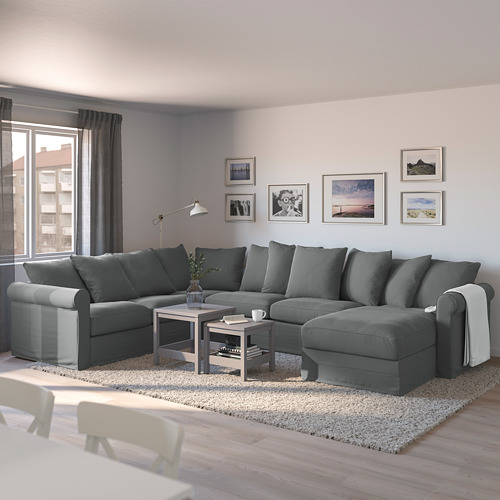 GRÖNLID - corner sofa-bed, 5-seat, with chaise longue/Ljungen medium grey | IKEA Hong Kong and Macau - PE690412_S4