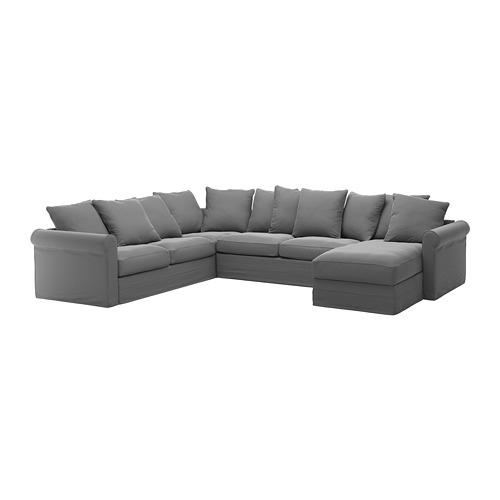 GRÖNLID - corner sofa-bed, 5-seat, with chaise longue/Ljungen medium grey | IKEA Hong Kong and Macau - PE690410_S4