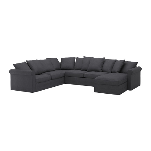 GRÖNLID - cover for corner sofa-bed, 5-seat, with chaise longue/Sporda dark grey | IKEA Hong Kong and Macau - PE690414_S4