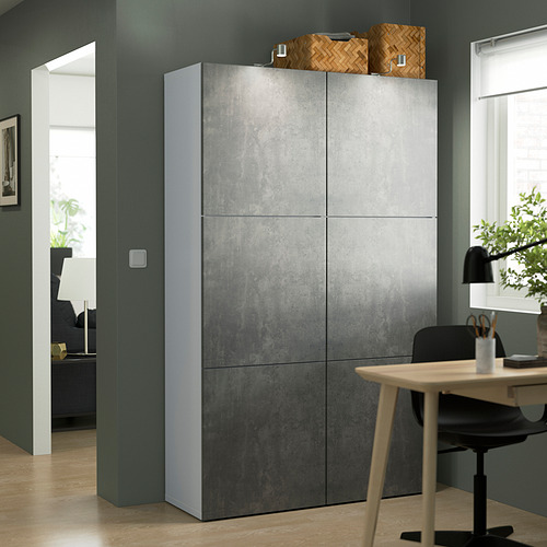 BESTÅ - 貯物組合連門, white/Kallviken dark grey concrete effect | IKEA 香港及澳門 - PE832694_S4