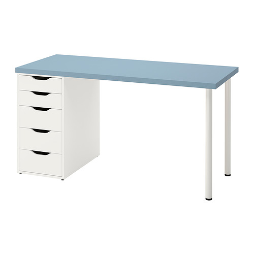 ALEX/LAGKAPTEN - 書檯, 淺藍色/白色   IKEA 香港及澳門 - PE832725_S4