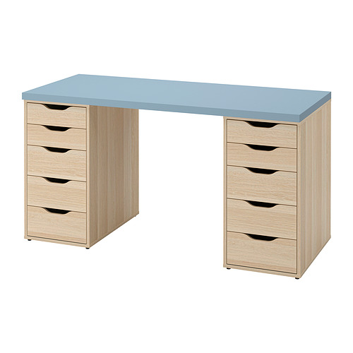 ALEX/LAGKAPTEN - desk, light blue/white stained oak effect | IKEA Hong Kong and Macau - PE832726_S4