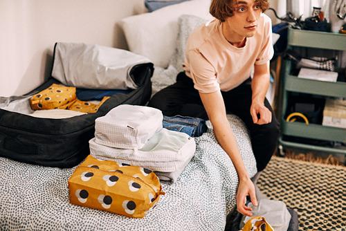 RENSARE - 衣物收納袋連間隔, 方格圖案/白色 | IKEA 香港及澳門 - PH169151_S4