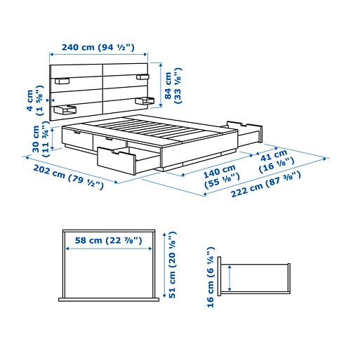 NORDLI - bed frame w storage and headboard, double | IKEA Hong Kong and Macau - PE733663_S4
