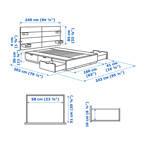 NORDLI - bed frame w storage and headboard, queen | IKEA Hong Kong and Macau - PE733664_S4
