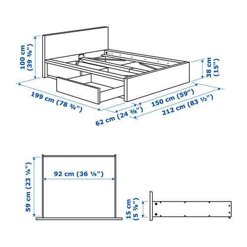 MALM 高身床架連2個貯物箱