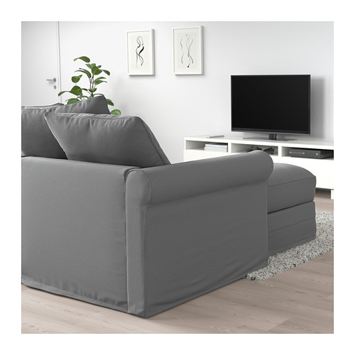 GRÖNLID - corner sofa-bed, 5-seat, with chaise longue/Ljungen medium grey | IKEA Hong Kong and Macau - PE690796_S4