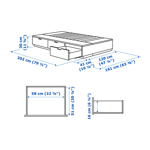 NORDLI bed frame with storage, small double, Mattress size 120x200cm