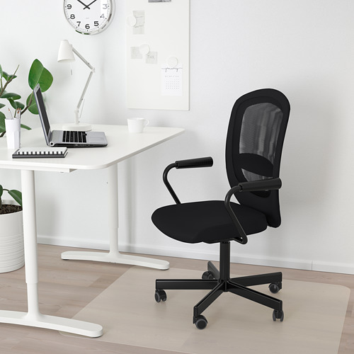 FLINTAN/NOMINELL - office chair with armrests, black | IKEA Hong Kong and Macau - PE733927_S4