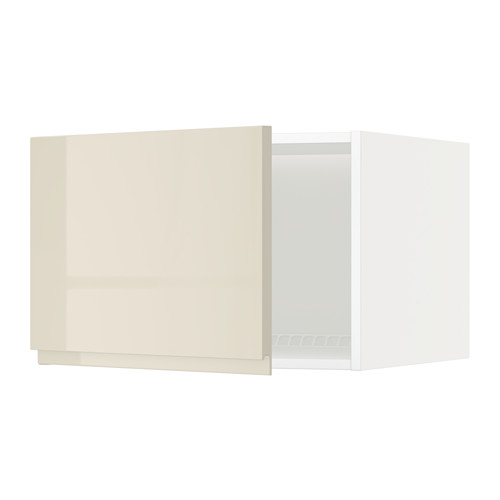 METOD - 雪櫃/冰箱用頂櫃, white/Voxtorp high-gloss light beige | IKEA 香港及澳門 - PE579670_S4