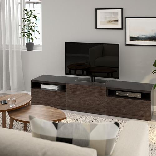 BESTÅ - TV bench, black-brown/Selsviken high-gloss/brown | IKEA Hong Kong and Macau - PE734144_S4
