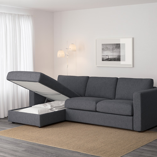 VIMLE - 3-seat sofa with chaise longue, with wide armrests Gunnared/medium grey | IKEA Hong Kong and Macau - PE642360_S4