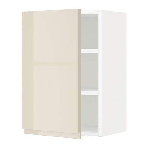 METOD - wall cabinet with shelves, white/Voxtorp high-gloss light beige   IKEA Hong Kong and Macau - PE579706_S4