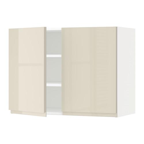 METOD - wall cabinet with shelves/2 doors, white/Voxtorp high-gloss light beige | IKEA Hong Kong and Macau - PE579728_S4