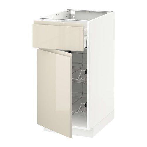 METOD/MAXIMERA - base cab w wire basket/drawer/door, white/Voxtorp high-gloss light beige | IKEA Hong Kong and Macau - PE579754_S4