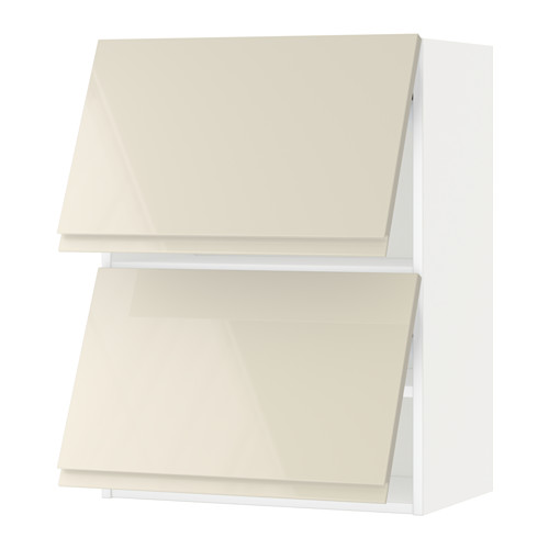 METOD - wall cabinet horizontal w 2 doors, white/Voxtorp high-gloss light beige | IKEA Hong Kong and Macau - PE579767_S4
