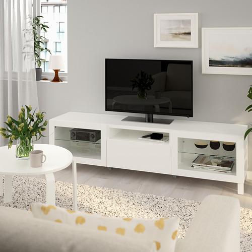 BESTÅ - TV bench, Lappviken/Sindvik white clear glass | IKEA Hong Kong and Macau - PE734167_S4