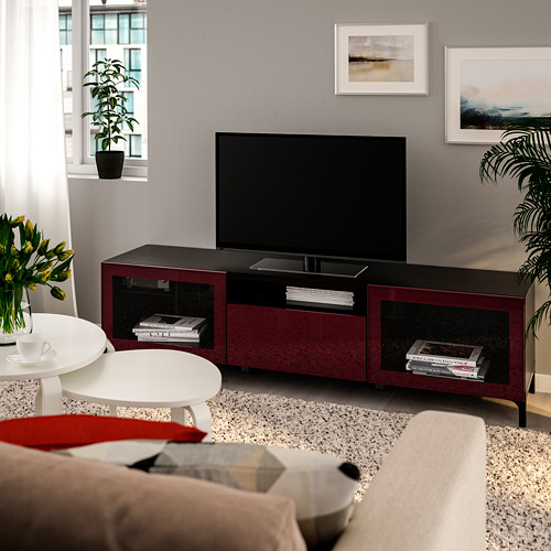 BESTÅ - TV bench, black-brown Selsviken/Nannarp/high-gloss dark red-brown | IKEA Hong Kong and Macau - PE734178_S4