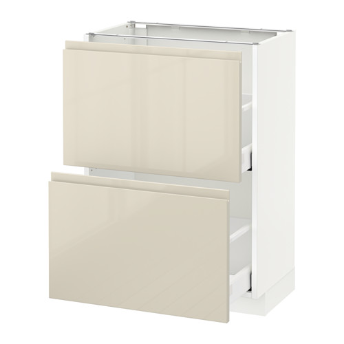 METOD - base cabinet with 2 drawers, white Maximera/Voxtorp high-gloss light beige | IKEA Hong Kong and Macau - PE579868_S4