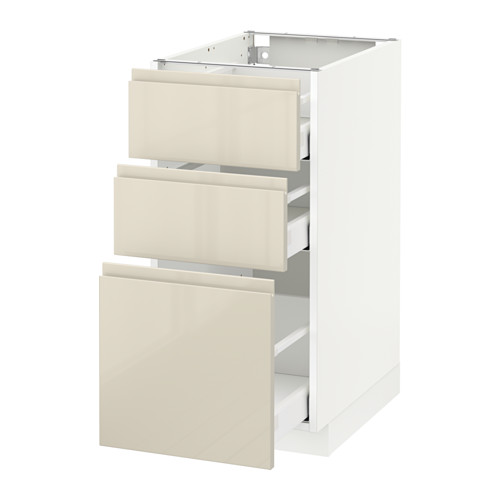 METOD - base cabinet with 3 drawers, white Maximera/Voxtorp high-gloss light beige | IKEA Hong Kong and Macau - PE579881_S4