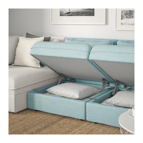VALLENTUNA - 3-seat modular sofa with sofa-bed, and storage/Hillared/Murum light blue/white | IKEA Hong Kong and Macau - PE691453_S4