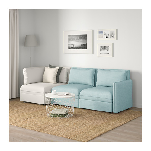 VALLENTUNA - 3-seat modular sofa with sofa-bed, and storage/Hillared/Murum light blue/white | IKEA Hong Kong and Macau - PE691454_S4