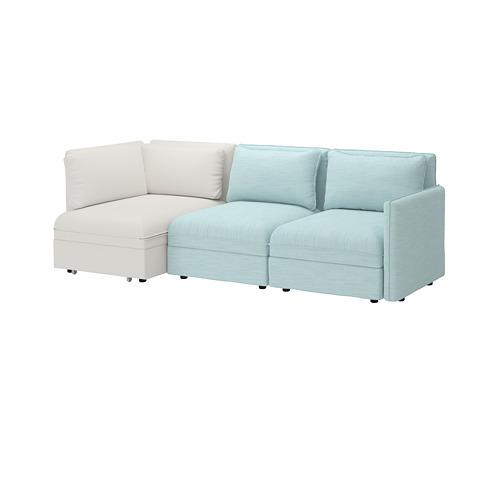 VALLENTUNA - 3-seat modular sofa with sofa-bed, and storage/Hillared/Murum light blue/white | IKEA Hong Kong and Macau - PE691486_S4