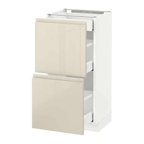 METOD - base cab with 2 fronts/3 drawers, white Maximera/Voxtorp high-gloss light beige | IKEA Hong Kong and Macau - PE579888_S4