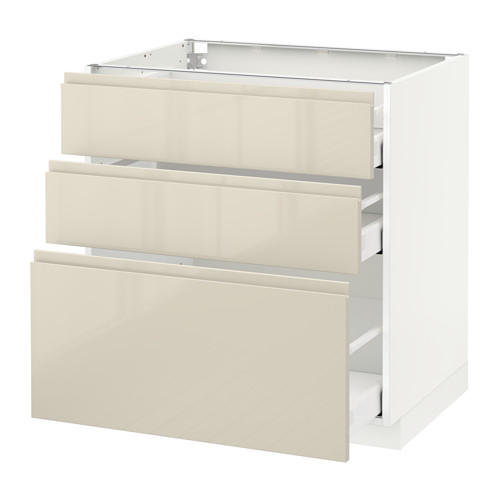 METOD - base cabinet with 3 drawers, white Maximera/Voxtorp high-gloss light beige | IKEA Hong Kong and Macau - PE579901_S4