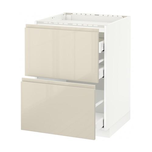 METOD/MAXIMERA - base cab f hob/2 fronts/3 drawers, white/Voxtorp high-gloss light beige | IKEA Hong Kong and Macau - PE579914_S4