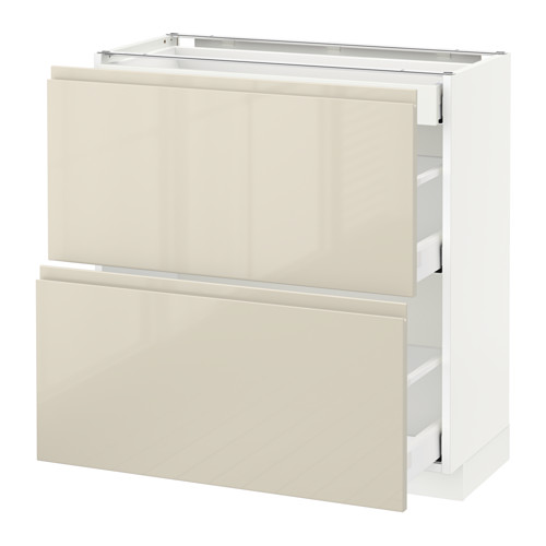 METOD - base cab with 2 fronts/3 drawers, white Maximera/Voxtorp high-gloss light beige | IKEA Hong Kong and Macau - PE579929_S4