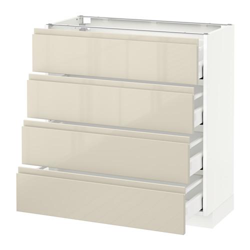 METOD - 地櫃連4面板/4抽屜, 白色 Maximera/Voxtorp 光面淺米色   IKEA 香港及澳門 - PE579934_S4