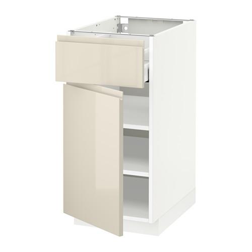 METOD/MAXIMERA - 地櫃連抽屜/門板, white/Voxtorp high-gloss light beige   IKEA 香港及澳門 - PE579935_S4