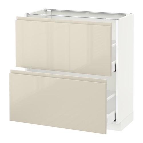 METOD - 兩層抽屜地櫃, 白色 Maximera/Voxtorp 光面淺米色 | IKEA 香港及澳門 - PE579968_S4
