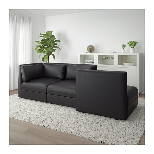 VALLENTUNA - 3-seat modular sofa, with open end and storage/Murum black | IKEA Hong Kong and Macau - PE691502_S4