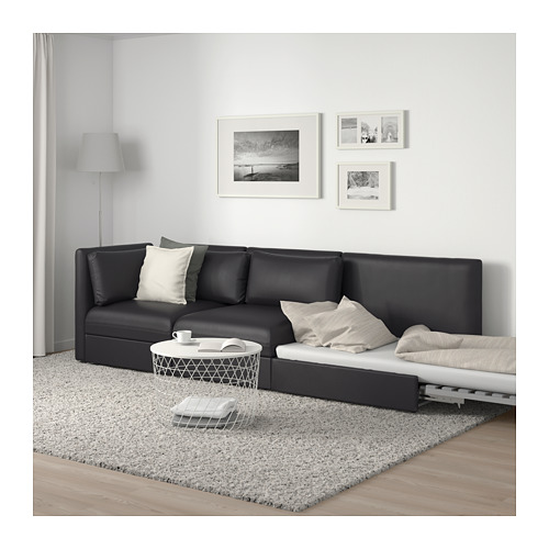 VALLENTUNA - 3-seat modular sofa with sofa-bed, with open end/Murum black | IKEA Hong Kong and Macau - PE691561_S4
