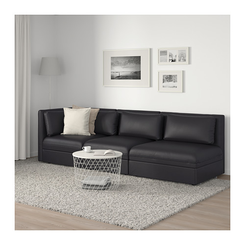 VALLENTUNA - 3-seat modular sofa with sofa-bed, with open end/Murum black | IKEA Hong Kong and Macau - PE691562_S4