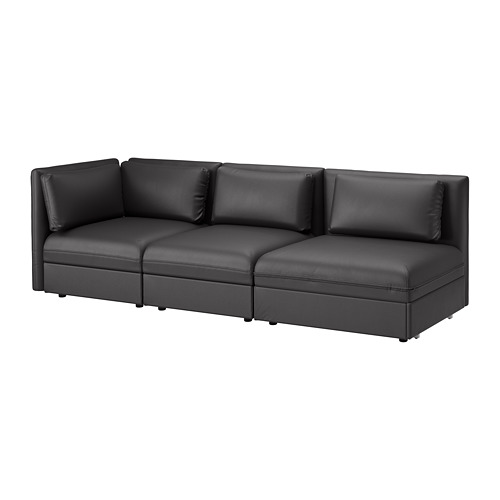 VALLENTUNA - 3-seat modular sofa with sofa-bed, with open end/Murum black | IKEA Hong Kong and Macau - PE691563_S4