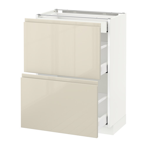 METOD - base cab with 2 fronts/3 drawers, white Maximera/Voxtorp high-gloss light beige   IKEA Hong Kong and Macau - PE580010_S4