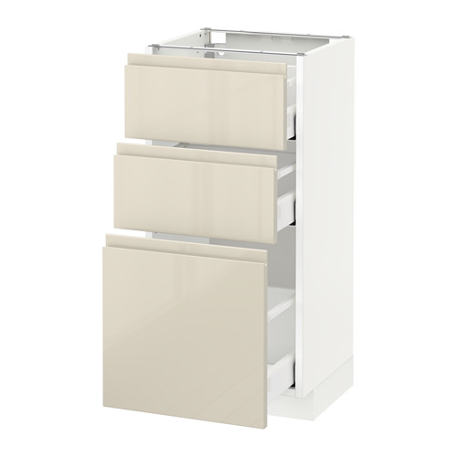 METOD - base cabinet with 3 drawers, white Maximera/Voxtorp high-gloss light beige | IKEA Hong Kong and Macau - PE580050_S4
