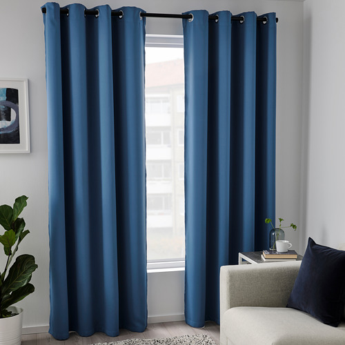 HILLEBORG - room darkening curtains, 1 pair, blue | IKEA Hong Kong and Macau - PE788478_S4