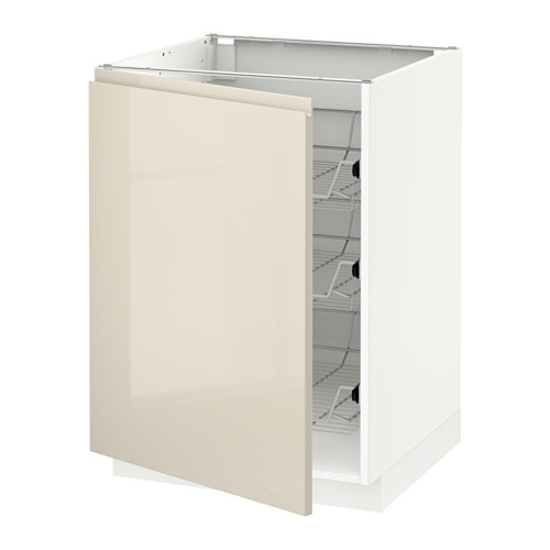 METOD - base cabinet with wire baskets, white/Voxtorp high-gloss light beige | IKEA Hong Kong and Macau - PE580070_S4